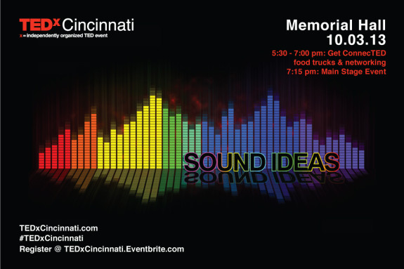 "Graphic design students at Cincinnati State created the ""Sound Ideas"" logo, postcard, other materials, and a 'Paint the Town TED' campaign for TEDxCincinnati."